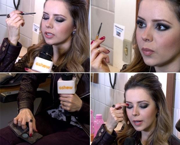 Sandy dá passo a passo de maquiagem em seu camarim (Foto: Gshow/TV Globo)