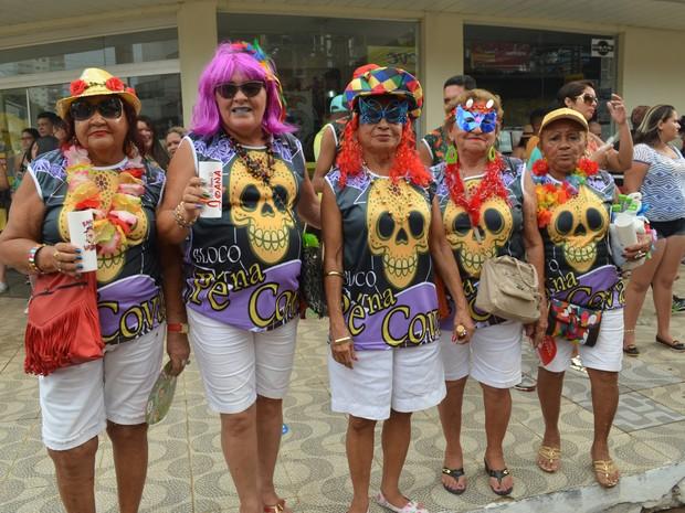 Eliete Azevedo com suas amigas na Banda doVai Quem Quer em Porto Velho (Foto: Sara Cicera/G1)