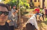 Mário mostra os bastidores de uma das gravações do Tô Indo