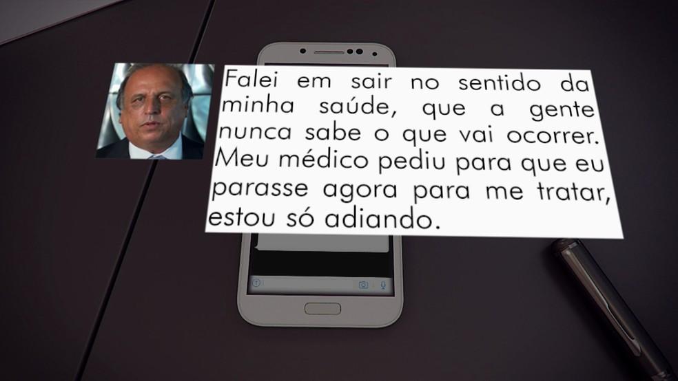 Pezão diz que poderá deixar o governo do RJ para tratar da saúde (Foto: Reprodução/TV Globo)