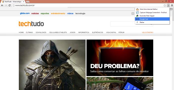 Acesse o site e depois o ícone do Cast (Foto: Thiago Barros/TechTudo)
