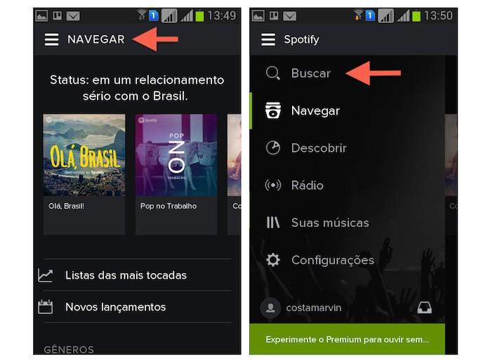 Acessando as funcionalidades do aplicativo do Spotify para dispositivos móveis (Foto: Reprodução/Marvin Costa)