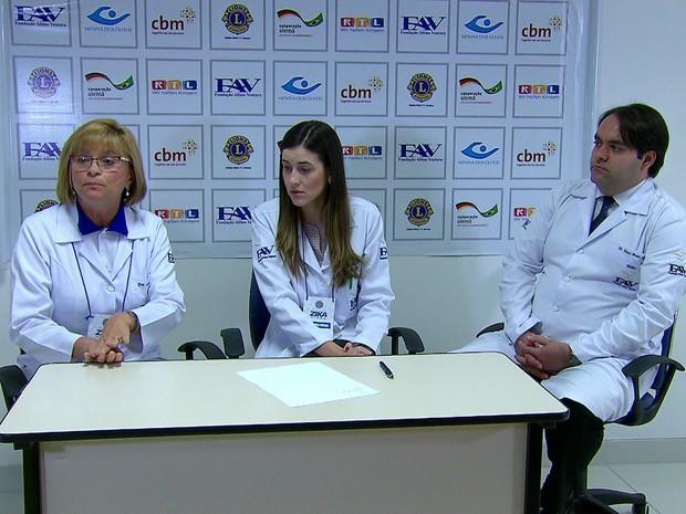 Pesquisadores apresentaram dados preliminares da pesquisa desenvolvida a partir de pacientes da Fundação Altino Ventura; na foto, Liana Ventura [esquerda] e Maurício Maia [direita] (Foto: Reprodução / TV Globo)