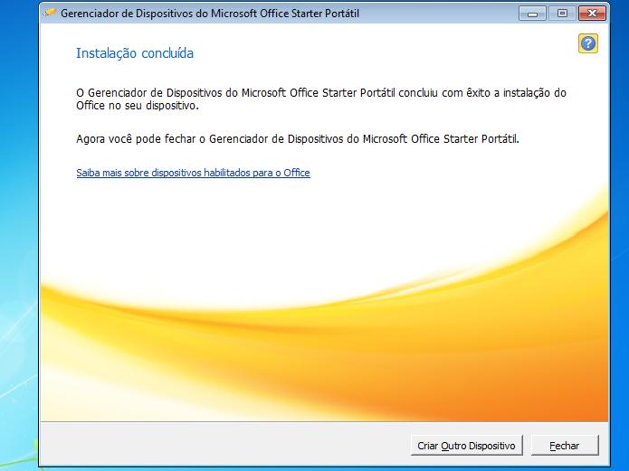 Criação do disco com o aMS Office Starter Portátil finalizada (Foto: Reprodução/Edivaldo Brito)