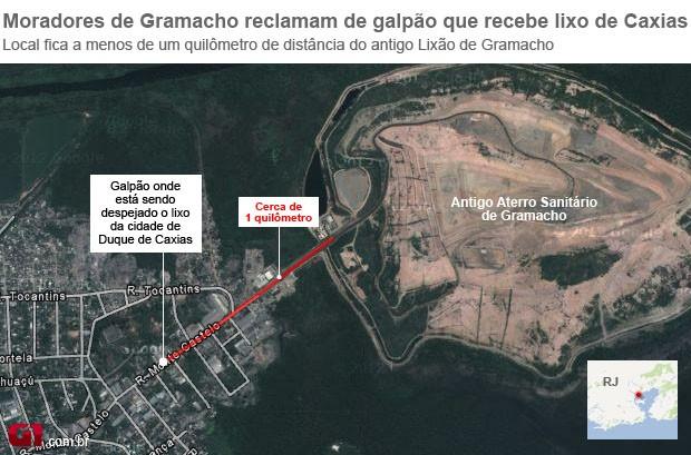 Mapa Aterro Gramacho (Foto: Arte/G1)