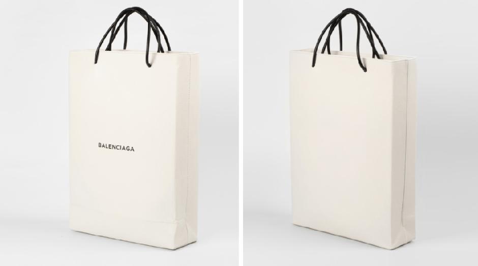 Apesar de parecer com uma bolsa de papel, produto da Balenciaga é feito de couro (Foto: Divulgação)