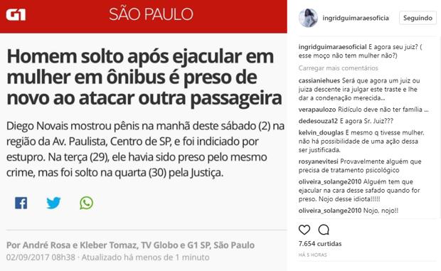 Ingrid Guimarães faz post após novo abuso sexual de Diego Novais (Foto: Reprodução/Instagram)