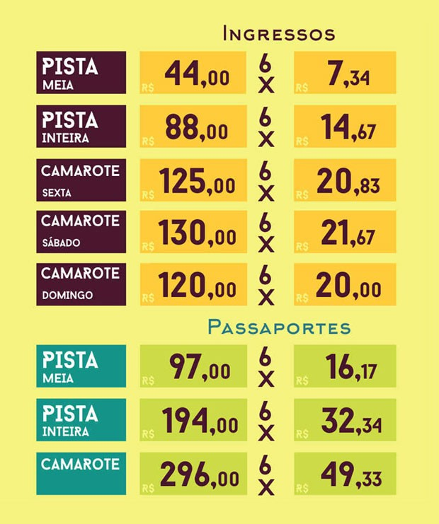 Tabela de preços FIB 2015 (Foto: Wilber Tomé)
