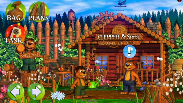 Os personagens de Chipper & Sons Lumber Co. tinham um aspecto estranho para um jogo infantil (Foto: Reprodução/App4Smart)