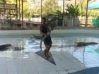 Jovem se arrisca e dança 'coladinho' com crocodilo