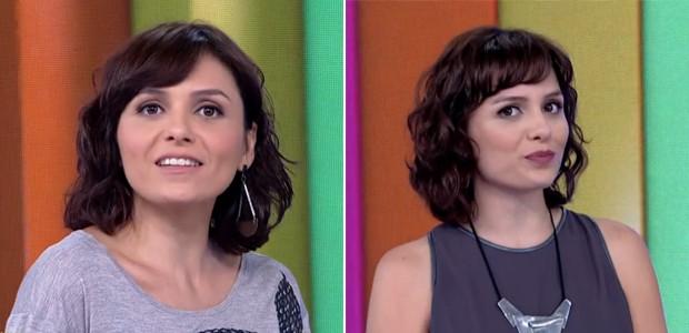 Nas imagens, Iozzi está com um corte acima do ombro e as madeixas onduladas, efeito que se faz com o uso de pomadas para texturizar e fixar os fios (Foto: Vídeo Show / TV Globo)