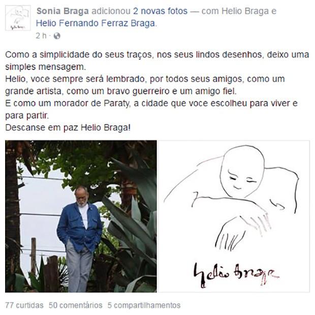 Sônia Braga faz post em homenagem a Hélio Braga (Foto: Reprodução / Facebook)