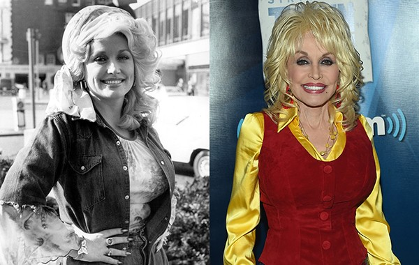 Dolly Parton em 1977 e 2016 (Foto: Getty Images)
