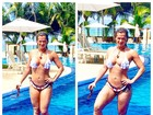 Fani Pacheco posa de biquíni na piscina e fã aponta celulite na perna