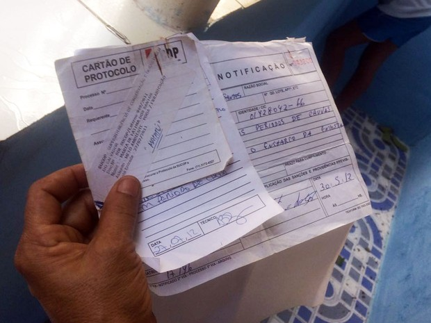 Vizinha mostra protocolo de pedido de poda árvore (Foto: Juliana Almirante/G1)