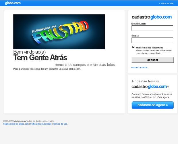 Inscrição Tem Gente Atrás (Foto: Domingão do Faustão / TV Globo)