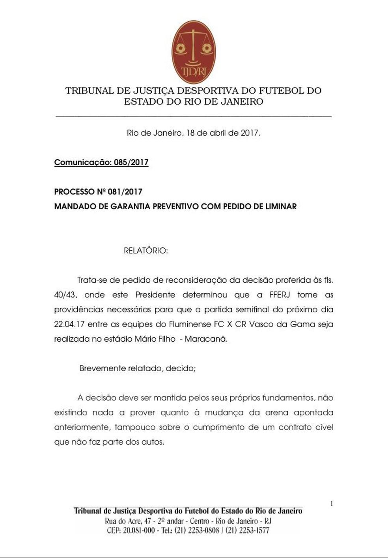 Decisão na íntegra de Marcelo Jucá sobre semifinal entre Fluminense e Vasco (Foto: Reprodução)