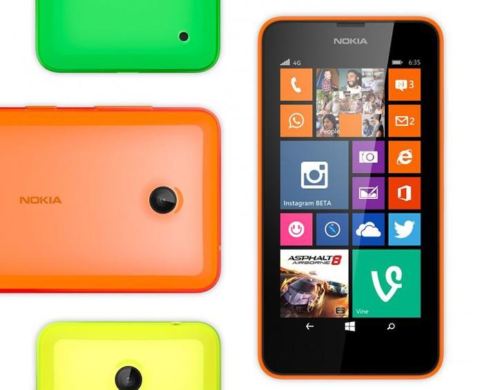 Lumia 635 é um intermediário com Windows Phone 8.1, processador quad-core e conexão 4G (Foto: Divulgação/Nokia)