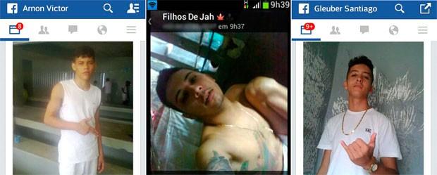 Arnon Victor Marques Nascimento e  Gleuber Santiago estão presos por assalto e publicaram fotos no Facebook. Cássio Servulo Meira da Nóbrega, que responde por tráfico de drogas, usou o  WhatsApp (Foto: Reprodução/G1)