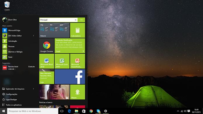 Windows 10 trabalha com grupos de blocos no menu Iniciar para melhor organização (Foto: Reprodução/Elson de Souza)