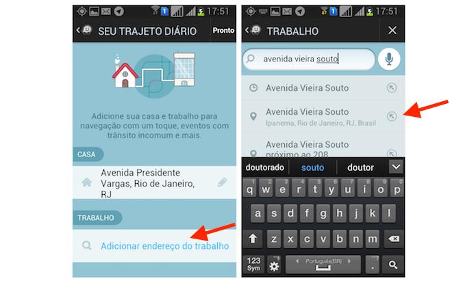 Adicionando um endereço de trabalho no Waze pelo Android (Foto: Reprodução/Marvin Costa)