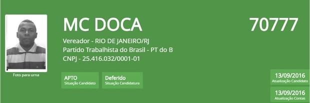 MC Doca (Foto: Reprodução/TSE)