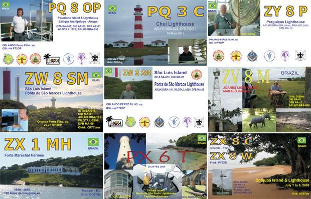 Alguns dos cartões 'QSL' que Orlando já fez em suas expedições. Modelos impressos são enviados pelo mundo para comprovar contatos distantes via rádio (Foto: Arquivo pessoal/Orlando Perez)