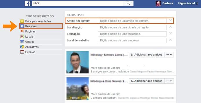 Use o filtro de amigo em comum para encontrar a pessoa no Facebook (Foto: Reprodução/Barbara Mannara)