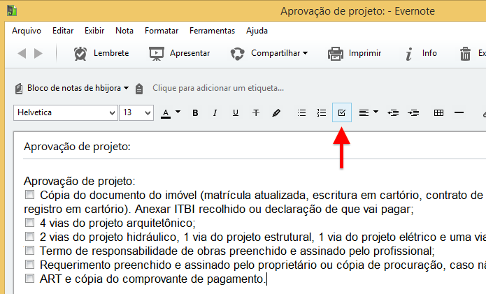 Convertendo texto simples em checklist (Foto: Reprodução/Helito Bijora)