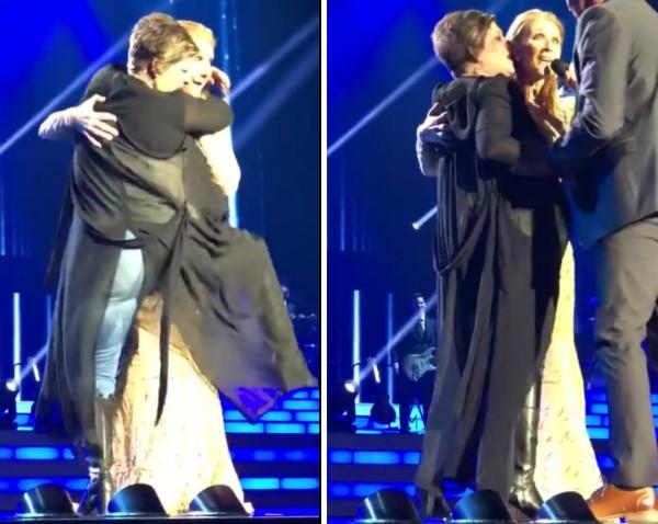 A cantora Celine Dion sendo abraçada por uma fã que invadiu o palco de seu show (Foto: YouTube)