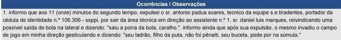 Expulsão em Sumula técnico Toinho do Tiradentes-PI (Foto: Divulgação)