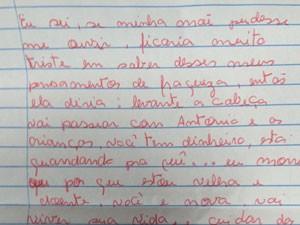 Carta deixada por  (Foto: Reprodução)