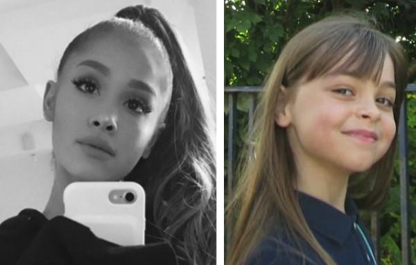 A cantora Ariana Grande e a pequena fã morta em seu show em Manchester (Foto: Instagram/Reprodução)