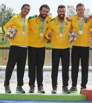 Pódio canoagem K4 1000m, Jogos Panamericanos Toronto 2015 (Foto: Reuters)