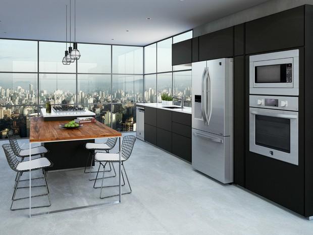 Eletrodomésticos sofisticados e tecnológicos dão um ar atemporal à cozinha (Foto: Divulgação)