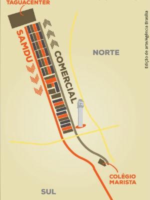 Mapa mostra novo fluxo de trânsito nas avenidas Comercial e Samdu; esquema será aplicado a partir de julho, diz GDF (Foto: GDF/Divulgação)