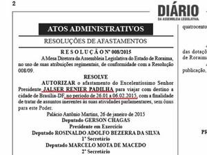 Durante recesso parlamentar de 2015, deputado viajou por 12 dias para Brasília (Foto: Reprodução/ Diário Assembleia Legislativa)