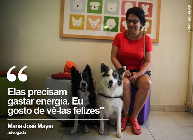 A advogada Maria José Mayer deixa as duas cadelas na creche na Zona Sul de São Paulo (Foto: Fábio Tito/G1)