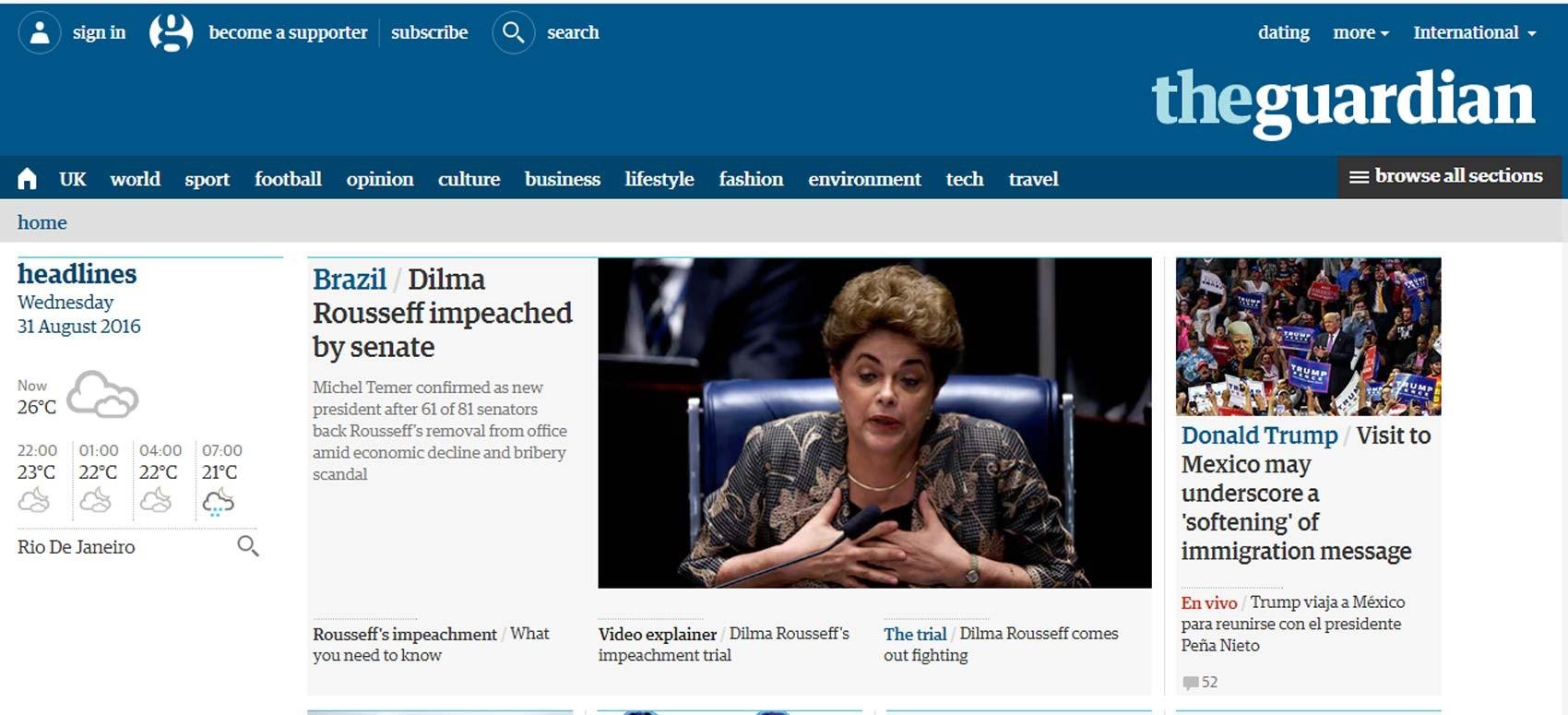 Site do jornal britânico Guardian destaca impeachment de Dilma Rousseff (Foto: Reprodução/ Guardian)