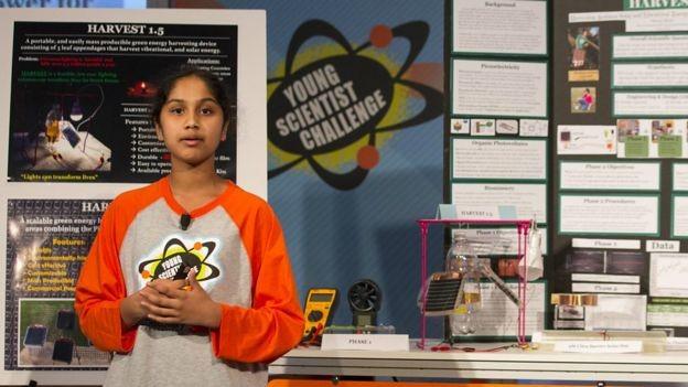 """Menina diz que pretendia """"impactar o mundo"""" com sua criação (Foto: Discovery Education)"""