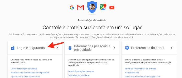 Acessando as configurações de login e segurança do Gmail (Foto: Reprodução/Marvin Costa)