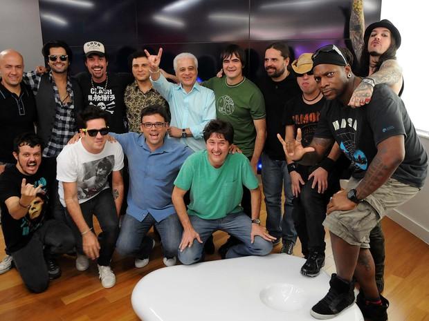 Artistas confirmados na edição de 2013 do Rock in Rio posam para foto em evento do festival (Foto: Alexandre Durão/G1)