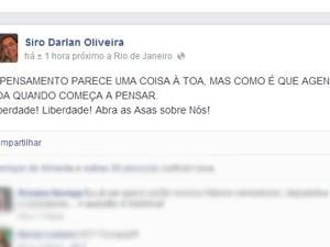 Desembargador Siro Darlan Postou no Facebook mensagem que sugeria a concessão de habeas corpus aos indiciados (Foto: Reprodução / Facebook)