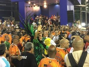 Ivete Sangalo no ensaio técnico da Grande Rio, Rio de Janeiro (Foto: Fernanda Rouvenat / G1)