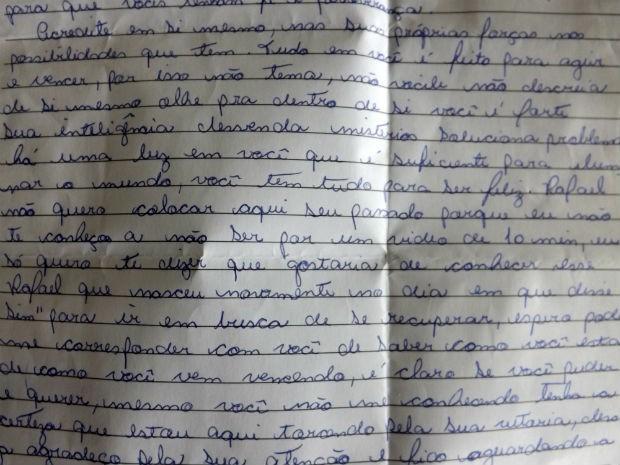 Uma admiradora de Rafael Nunes escreveu palavras de conforto e apoio (Foto: Natália de Oliveira/G1)