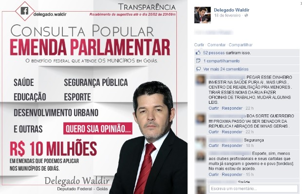 Delegado Waldir Soares lançou consulta popular para definir onde será investida verba de R$ 10 milhões em Goiás (Foto: Reprodução/Facebook)