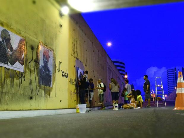 Imagens foram coladas nos viadutos de Maceió (Foto: Arthur Celso/Arquivo Pessoal)