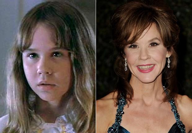 Linda Blair, à esquerda, em 'O Exorcista', e à direita, em novembro de 2011 (Foto: Reprodução e Getty Images)