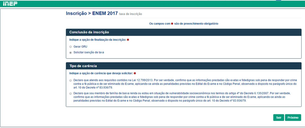 Enem 2017: conclusão da inscrição prevê gerar boleto ou pedir isenção (Foto: Reprodução/Inep)