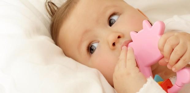 Bebê mordendo brinquedo (Foto: Shutterstock)